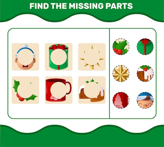 만화 크리스마스 부품을 일치시킵니다. 매칭 게임. 취학 전 아동 및 유아를 위한 교육 게임