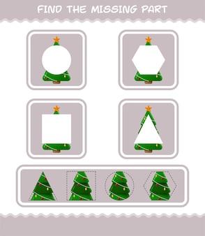 Совпадение частей мультяшной елки. соответствующая игра. развивающая игра для дошкольников и малышей