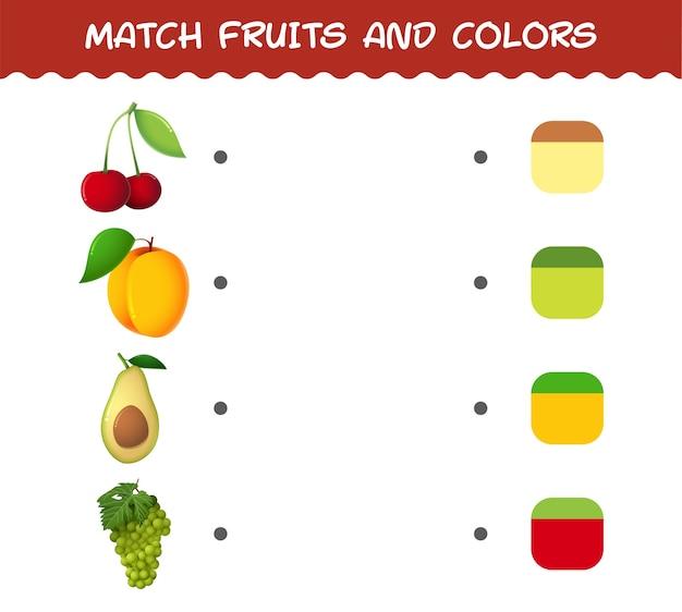 Подберите мультяшные фрукты и цвета