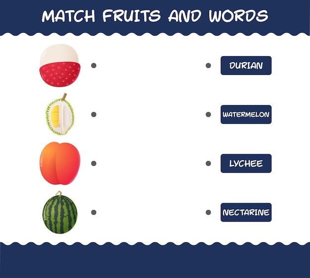 Матч мультяшные фрукты и слова. соответствующая игра.