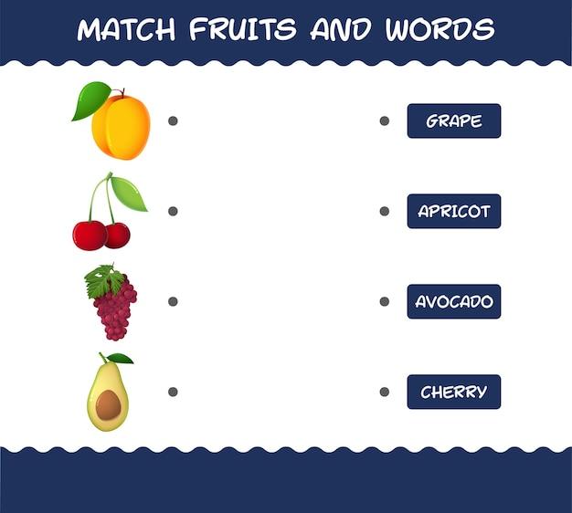 Матч мультфильм фрукты и слова