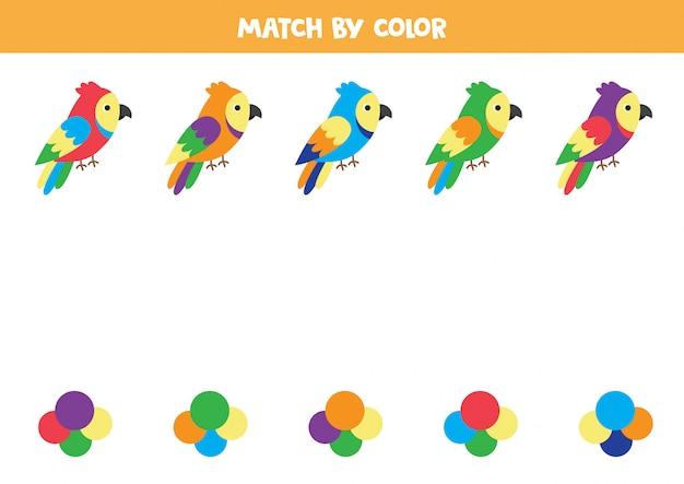 Match cartoon parrots by color.