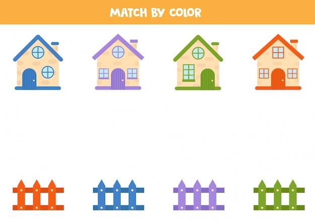 시골집과 울타리를 색상별로 일치시킵니다.