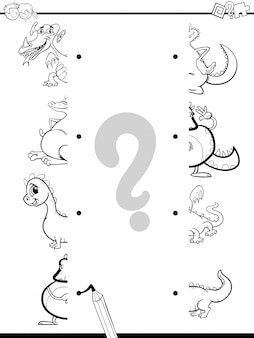 Match dragons halves coloring page