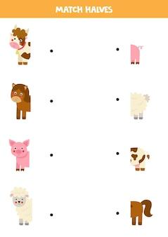농장 동물과 꼬리 맞추기 어린이를위한 논리 게임