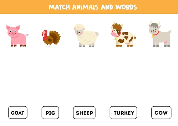 Match farm animals and the words. educational logical game for kids.