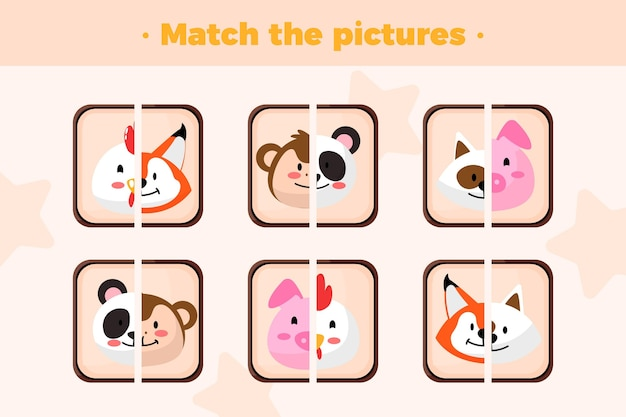 Match game with animals