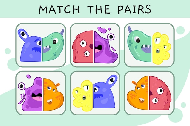 Match game worksheet for kids