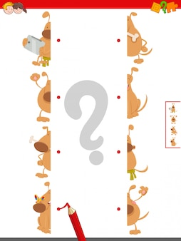 Match halves of dog characters educational game