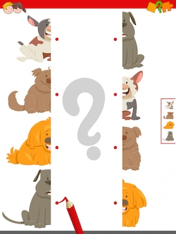 Match halves of dog pictures educational game