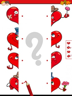 Match halves of hearts educational game