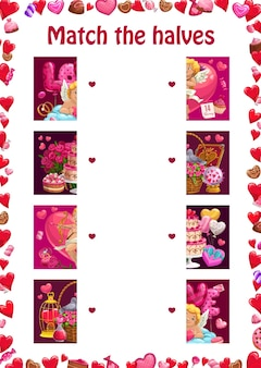 Match the halves kids education puzzle with valentines day items and characters