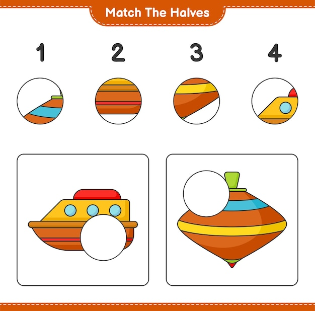 Match the halves match halves of boat and whirligig toy educational children game