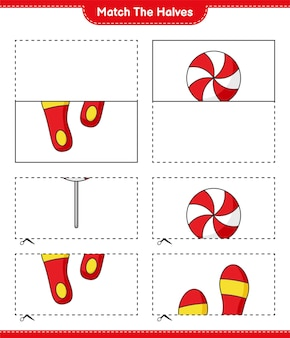 Match the halves match halves of candy and flip flop educational children game