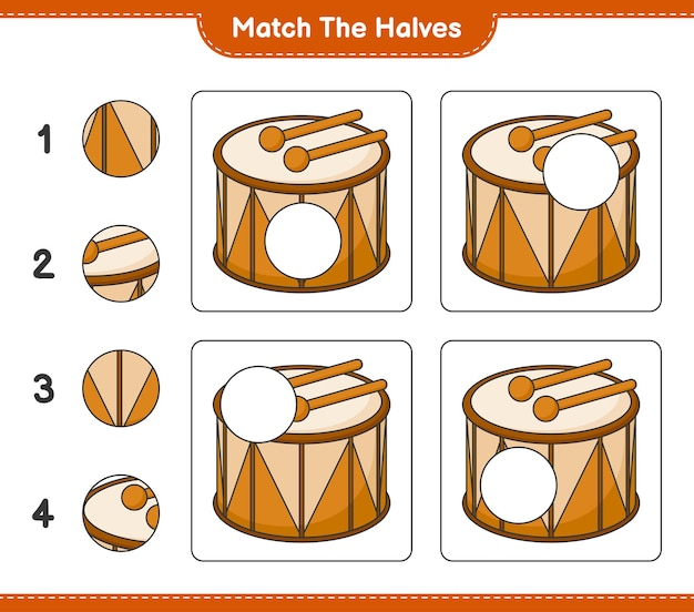 Match the halves match halves of drum educational children game printable worksheet