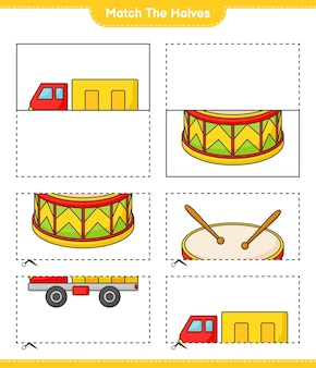 Match the halves match halves of lorry and drum educational children game printable worksheet