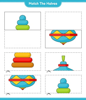 Match the halves match halves of pyramid toy and whirligig toy educational children game