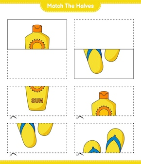 Match the halves match halves of sunscreen and flip flop educational children game