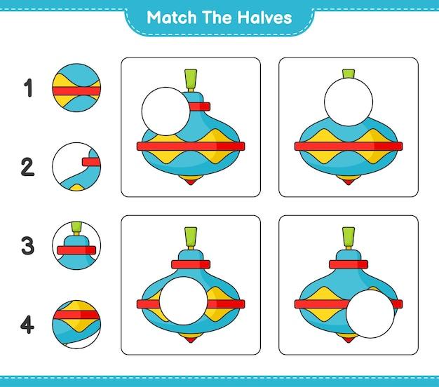 Match the halves match halves of whirligig toy educational children game printable worksheet