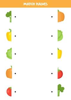 漫画の野菜の半分を一致させます。就学前の子供のための論理パズル。教育ワークシート。
