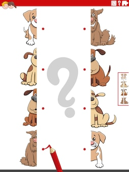 Совмещайте половинки картинок с собаками обучающая игра