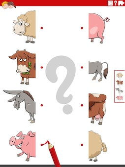 Match halves of pictures with farm animals educational task