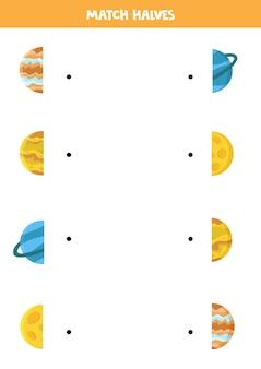 Match halves of solar system planets. logical game for kids.