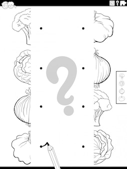 Match halves of vegetables pictures coloring book page