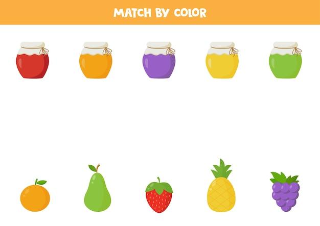 ジャムの瓶を色とりどりの果物と合わせてください。子供のための教育的な論理ゲーム。就学前の子供のための面白いワークシート。