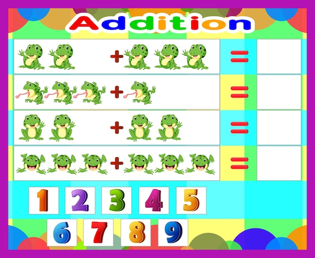 Match math addition with the number
