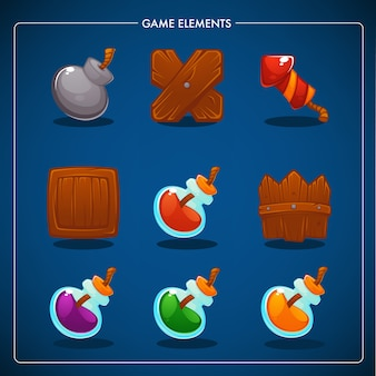 Match  mobile game, games objects, potion, bomb, dynamite, box, fence, petard
