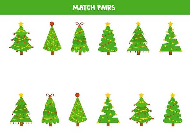 크리스마스 전나무의 쌍을 일치시킵니다. 아이들을위한 교육 논리 게임.
