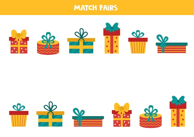Подберите пары коробок для рождественских подарков. логическая таблица для детей.