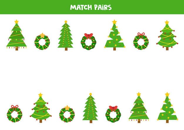 クリスマスツリーと花輪のペアを一致させます。子供のための教育論理。