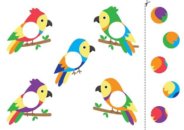 Match parts of cartoon  parrots.