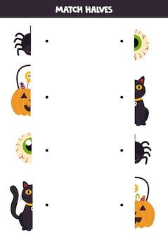 Match parts of halloween pictures. logical game for children.