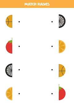 Совместите части круговых объектов. логическая игра для детей.