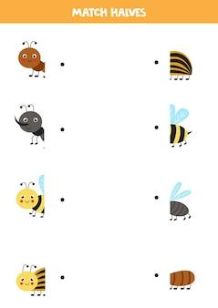 귀여운 곤충의 부분을 일치시킵니다. 아이들을위한 논리 게임.