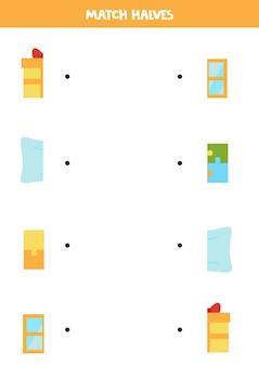正方形のオブジェクトのパーツを一致させます。子供のための論理的なゲーム。