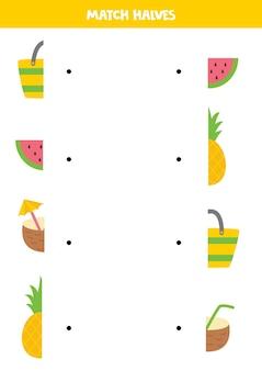 夏の写真の一部を一致させます。子供のための論理的なゲーム。