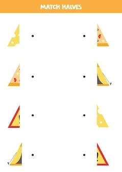 三角形のオブジェクトのパーツを一致させます。子供のための論理的なゲーム。 Premiumベクター