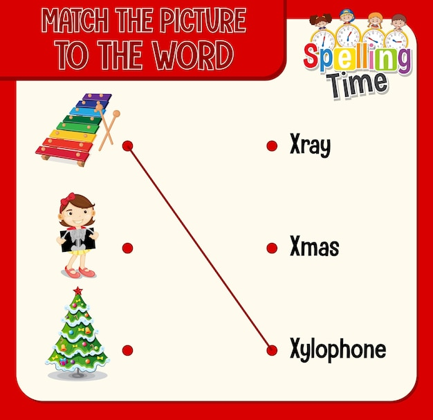 Match the picture to the word worksheet for children