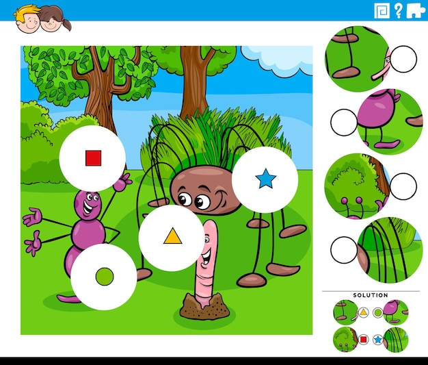 만화 곤충 캐릭터가있는 아이들을위한 매치 조각 게임 프리미엄 벡터