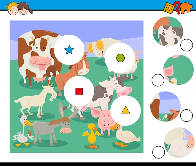 Match the pieces game with farm animals