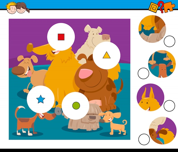 Match the pieces jigsaw puzzle game with dogs