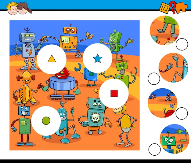 Match pieces jigsaw puzzles with robots