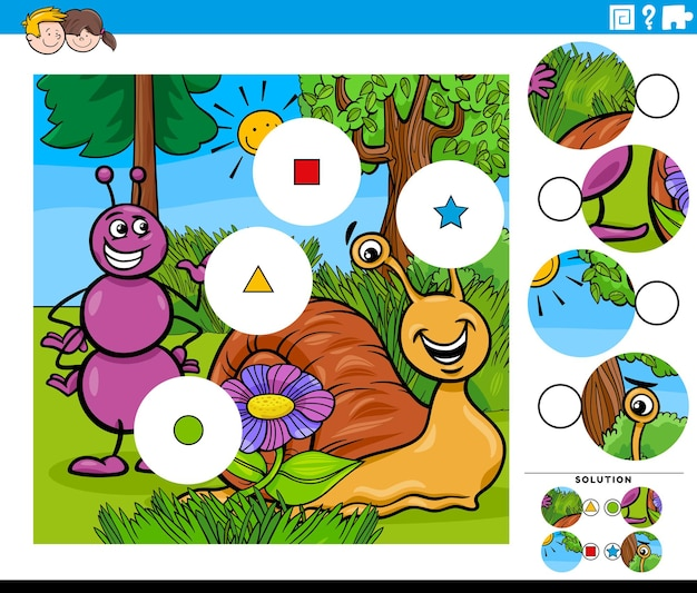 Match pieces task with cartoon ant and snail characters