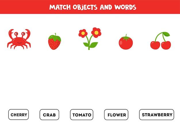 Сопоставьте красные предметы с письменными предметами. образовательный лист для детей.