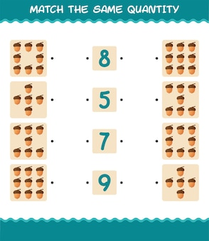 Match the same quantity of acorn. counting game. educational game for pre shool years kids and toddlers
