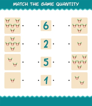 Match the same quantity of antlers headband. counting game. educational game for pre shool years kids and toddlers